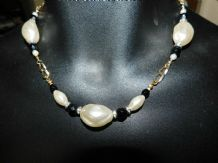 ELEGANT CHUNKY GOLD TONE CHAIN NECKLACE LARGE FAUX PEARLS SPARKLES & BEADS 18.5""